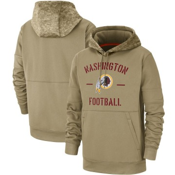 Men's Washington Redskins Tan 2019 Salute to Service Sideline Therma Pullover Hoodie