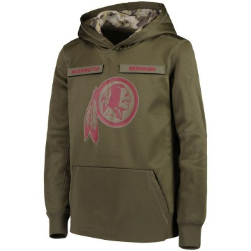 Youth Washington Redskins Green 2018 Salute to Service Pullover Performance Hoodie
